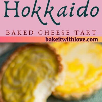 alfiler alto con dos imágenes de las tartas de queso hokkaido horneadas con separador de texto.