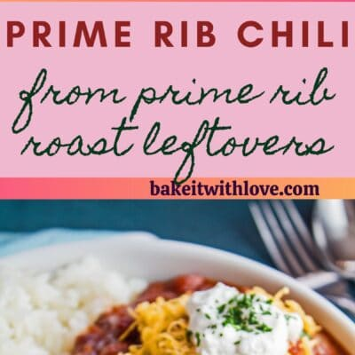 tall pin with two images of the prime rib chili and text divider.