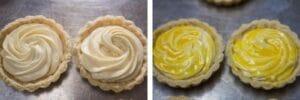 paso 10 rellena las cáscaras de tarta con relleno de queso, lava el huevo y hornea.
