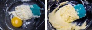paso 2 agregue la yema de huevo, vainilla o extracto de limón y ralladura de limón y combine.