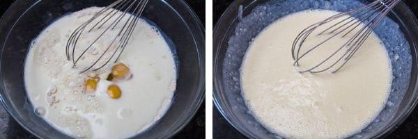 passo 2 ingredientes molhados adicionados e batidos até que uma massa de crepe lisa esteja feita.