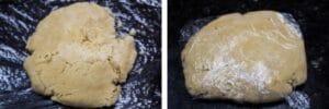 étape 4 rassemblez la pâte et formez un disque puis enveloppez-la dans un film plastique et laissez refroidir.