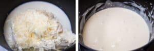 paso 5 quesos, leche y mantequilla en una cacerola de fondo grueso.