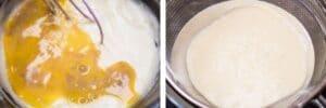 étape 7 ajouter l'extrait de vanille d'oeuf battu et le jus de citron, mélanger, puis tamiser.