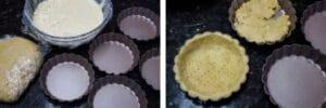 étape 9 remplissez les moules à tarte et coupez-les avant la cuisson.