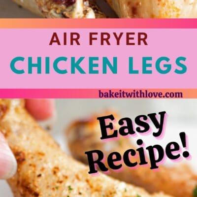 hoher Stift mit 2 Bildern von Air Fryer Chicken Legs und Textteiler.