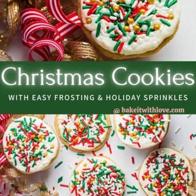 pin con dos imágenes de las galletas navideñas con chispitas y separador de texto.