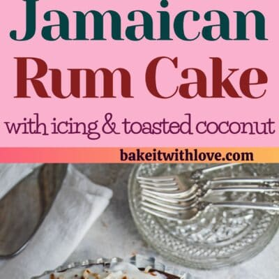 tall pin with two images of the Jamaican rum cake and text divider.