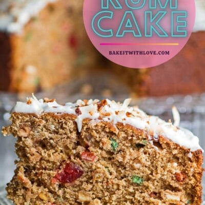 tall pin image closeup of the Jamaican rum cake slice with text overlay.