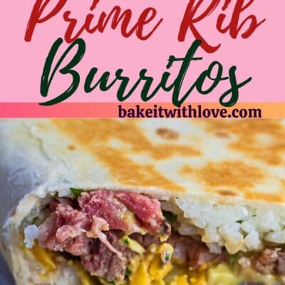 tall pin with two images of the leftover prime rib burritos with text divider.