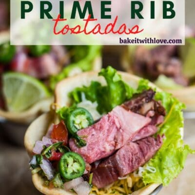 pin with angled overhead image of leftover prime rib tostadas with text overlay.