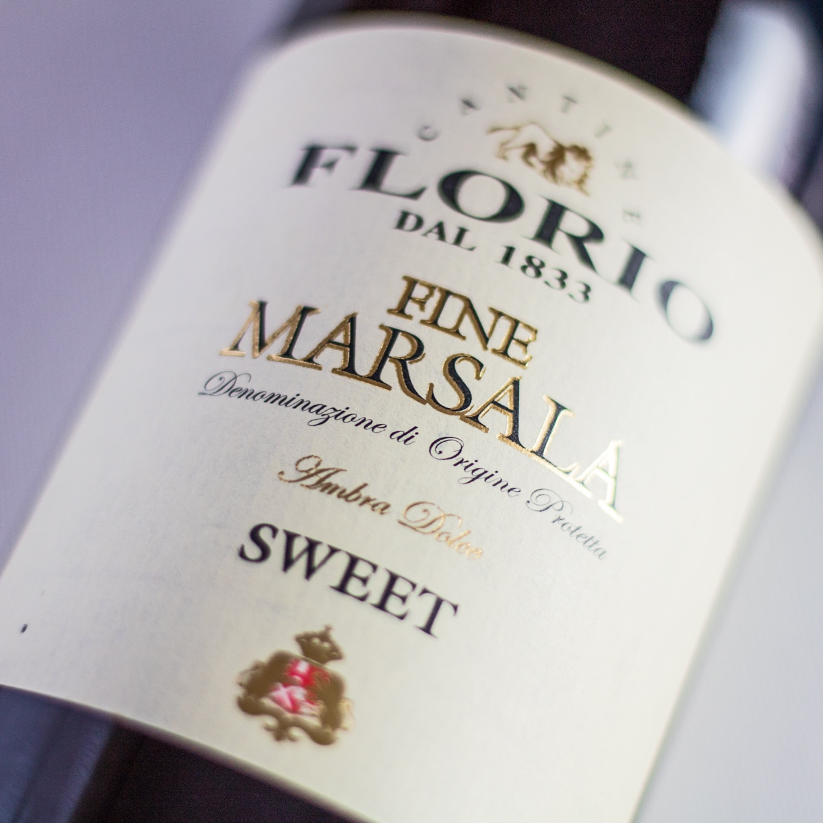 Stort firkantet Marsala Wine Substitute -billede, der viser flasketiket.
