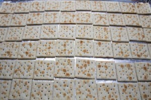 saltines in a single layer on baking sheet.