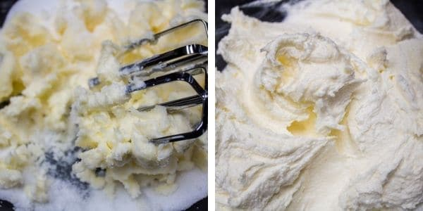 step 1 cream together the butter and sugar until light and fluffy.