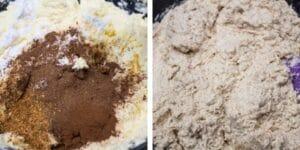 passo 3 adicione especiarias misturadas, fermento em pó, casca de laranja e canela e misture.