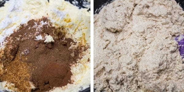 step 3 add mixed spice baking powder orange peel and cinnamon then combine.