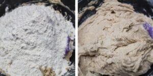passo 4 adicione a farinha de trigo e misture até obter a consistência de massa.