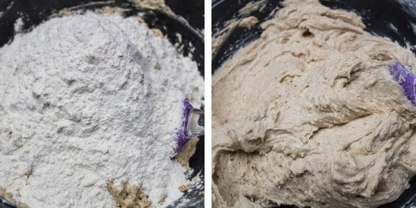 langkah 4 masukkan tepung serba guna dan gaul hingga rata.