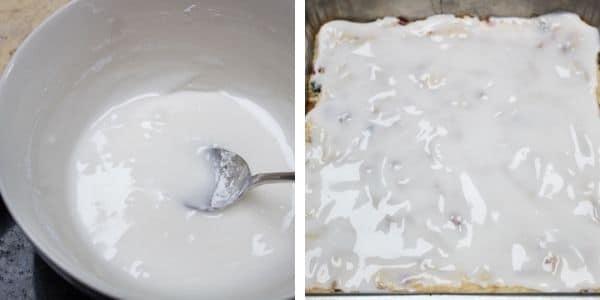 paso 5 mezcla el glaseado y esparce sobre los cuadrados de pastel de frutas.