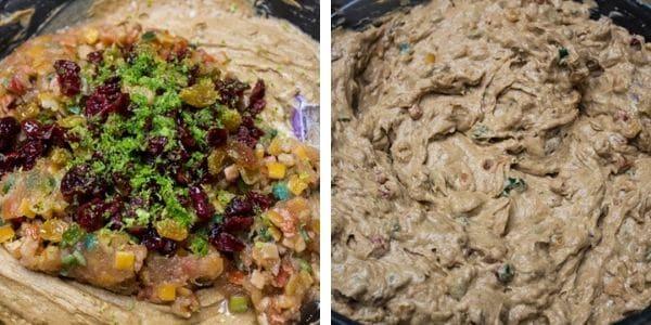 langkah 6 masukkan sultanas kulit kering ceri kering nanas limau purut dan perahan oren.