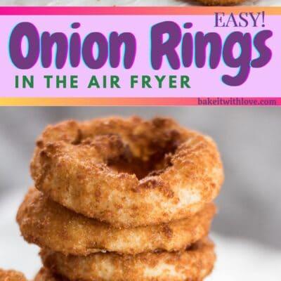 perno alto con 2 immagini degli anelli di cipolla congelati della friggitrice ad aria croccante.
