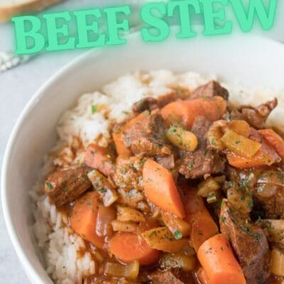 pin with Hawaiian Beef Stew served over rice and text overlay.
