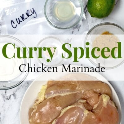 Curry Chicken Marinade pin with text overlay.