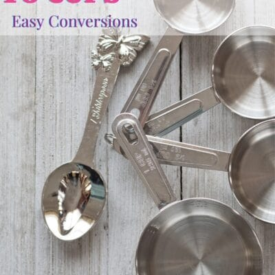 pin with tall image of assorted measuring cup sizes to tablespoon and text overlay.