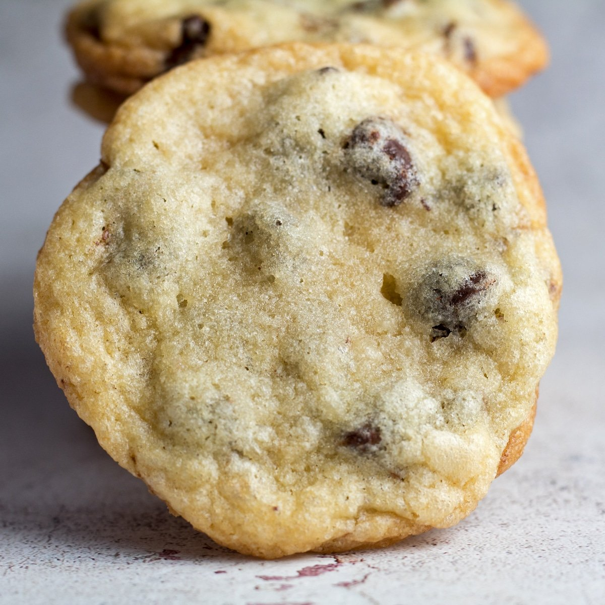 Large square image of arranged chocolate chip cookies without brown sugar.