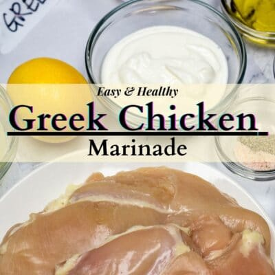 Greek Chicken Marinade pin image with text overlay.