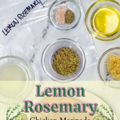 Lemon Rosemary Chicken Marinade pin image with text overlay.