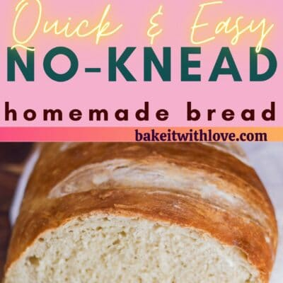 tall pin with 2 images of rustic bread loaf and text divider.