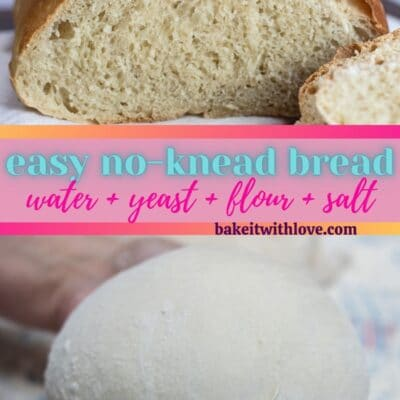 pin with rustic bread and shaped dough images with text divider.