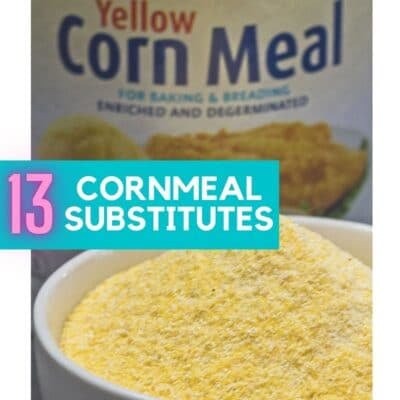 Pin with cornmeal image and text overlay.