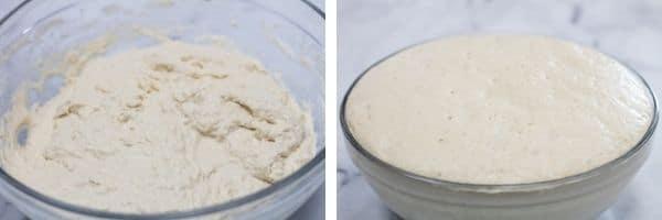 3 mixed rustic bread dough and then risen dough.