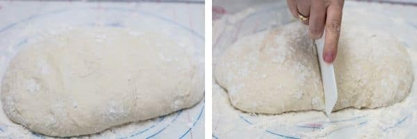 4 risen dough turned out and folded under itself then cut into two portions