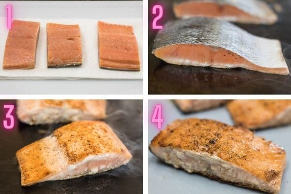 4 step-by-step process photos cooking hibachi salmon.