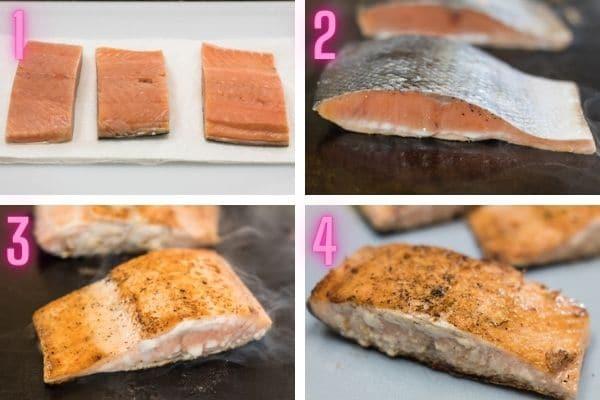 4 fotos de proceso paso a paso cocinando salmón hibachi.