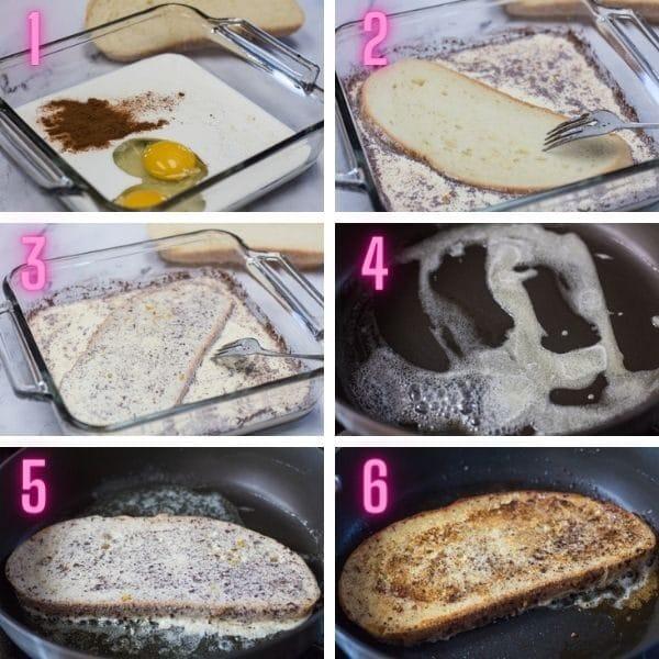 6 fotos de processo para obter instruções passo a passo sobre como fazer torradas francesas.