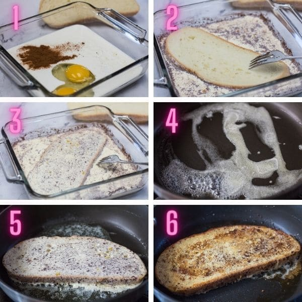 6 fotos de proceso para obtener instrucciones paso a paso sobre cómo hacer tostadas francesas.