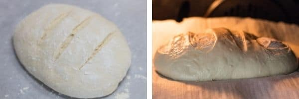 6 shaped loaf with slits rising then baking in the oven.