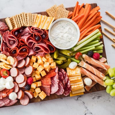 Large square charcuterie board section.