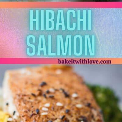 Pin alto con 2 imágenes de salmón hibachi cocido.