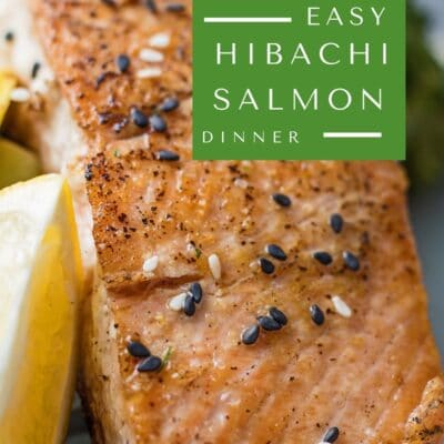pin with hibachi salmon and text overlay.