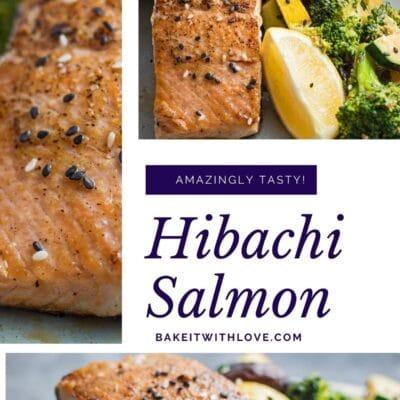 Pin de collage con 3 imágenes de salmón hibachi.