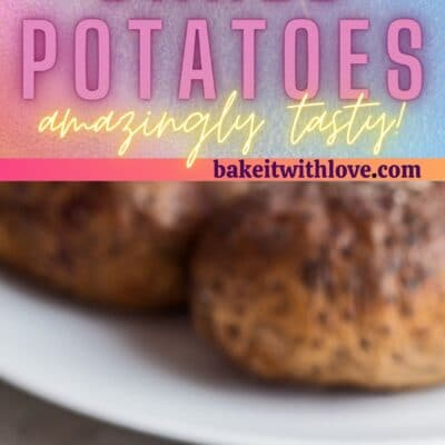 Tall pin with 2 images of the smoked baked potato.