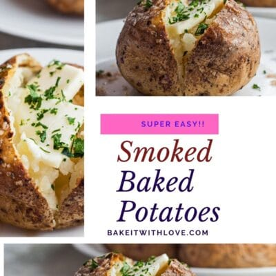 Collage pin with 3 images of the smoked baked potato.