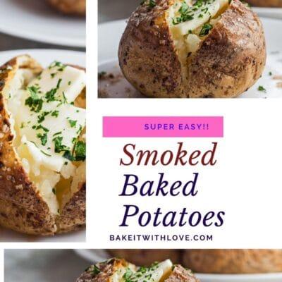 Pino de colagem com 3 imagens da batata assada defumada.