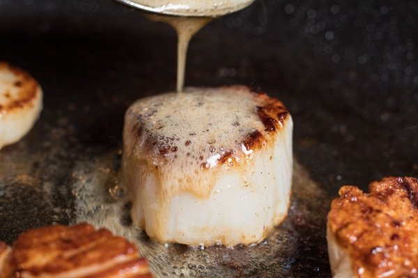 Baste the scallops with melted butter.