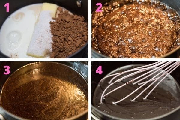 step by step process photos of cooking the fudge icing.